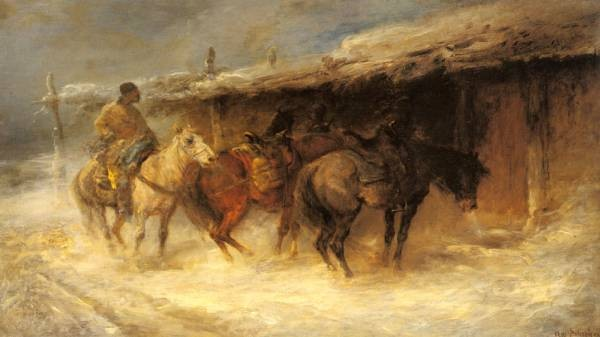 Schreyer Adolf Wallachian Horseman In The Snow